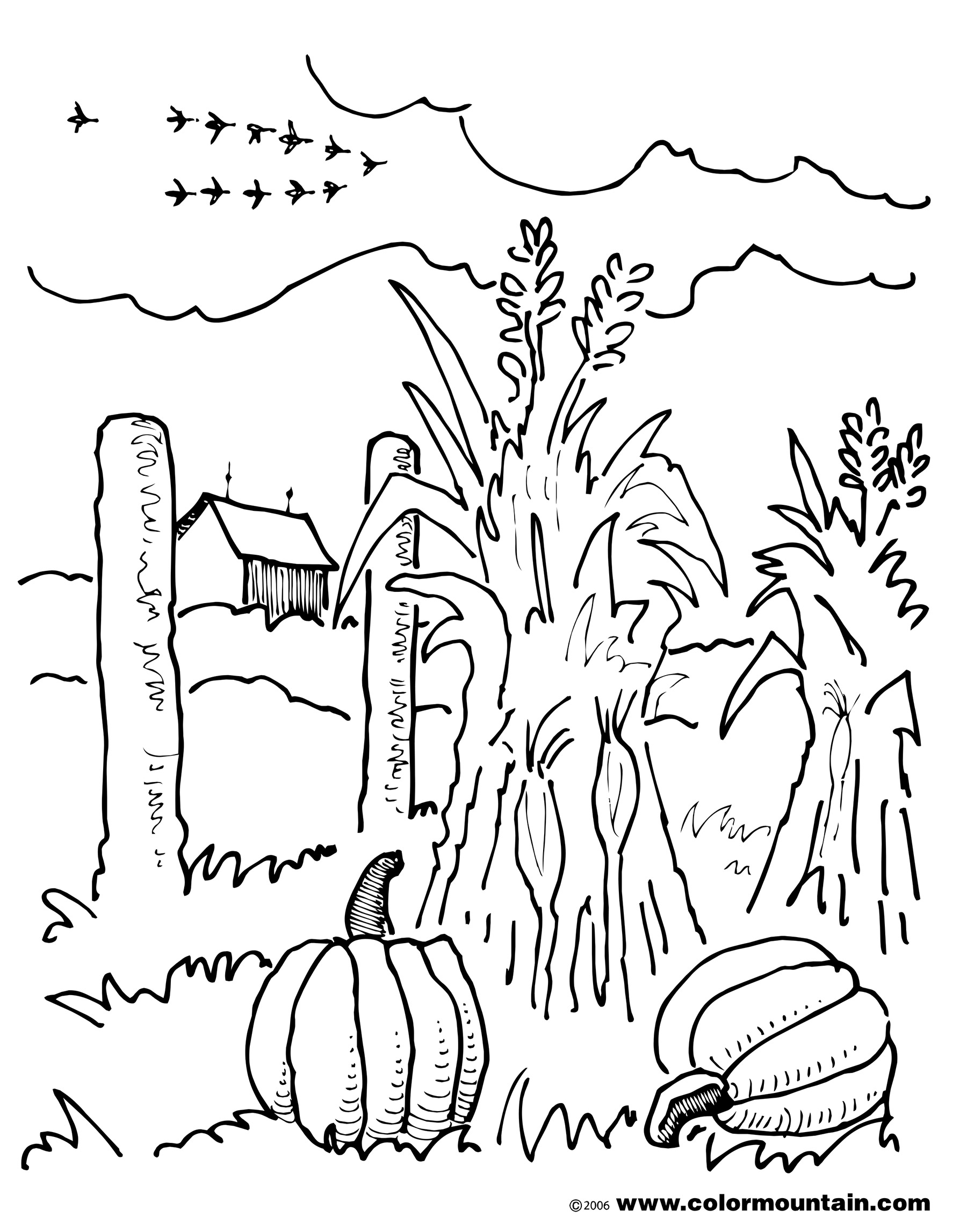 1800x2294 Fall Corn Coloring Sheet