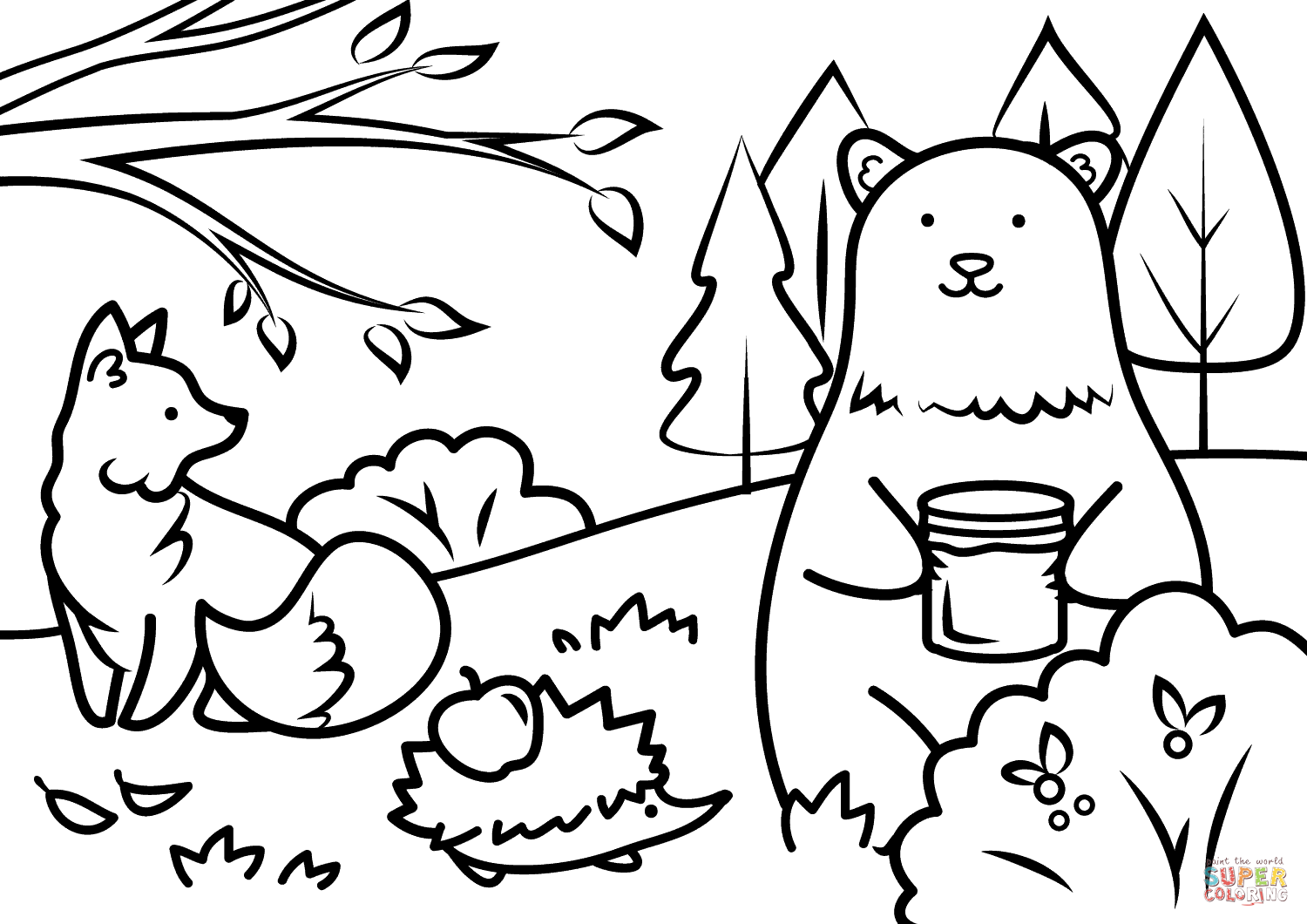 1500x1060 Autumn Animals Coloring Page Free Printable Coloring Pages