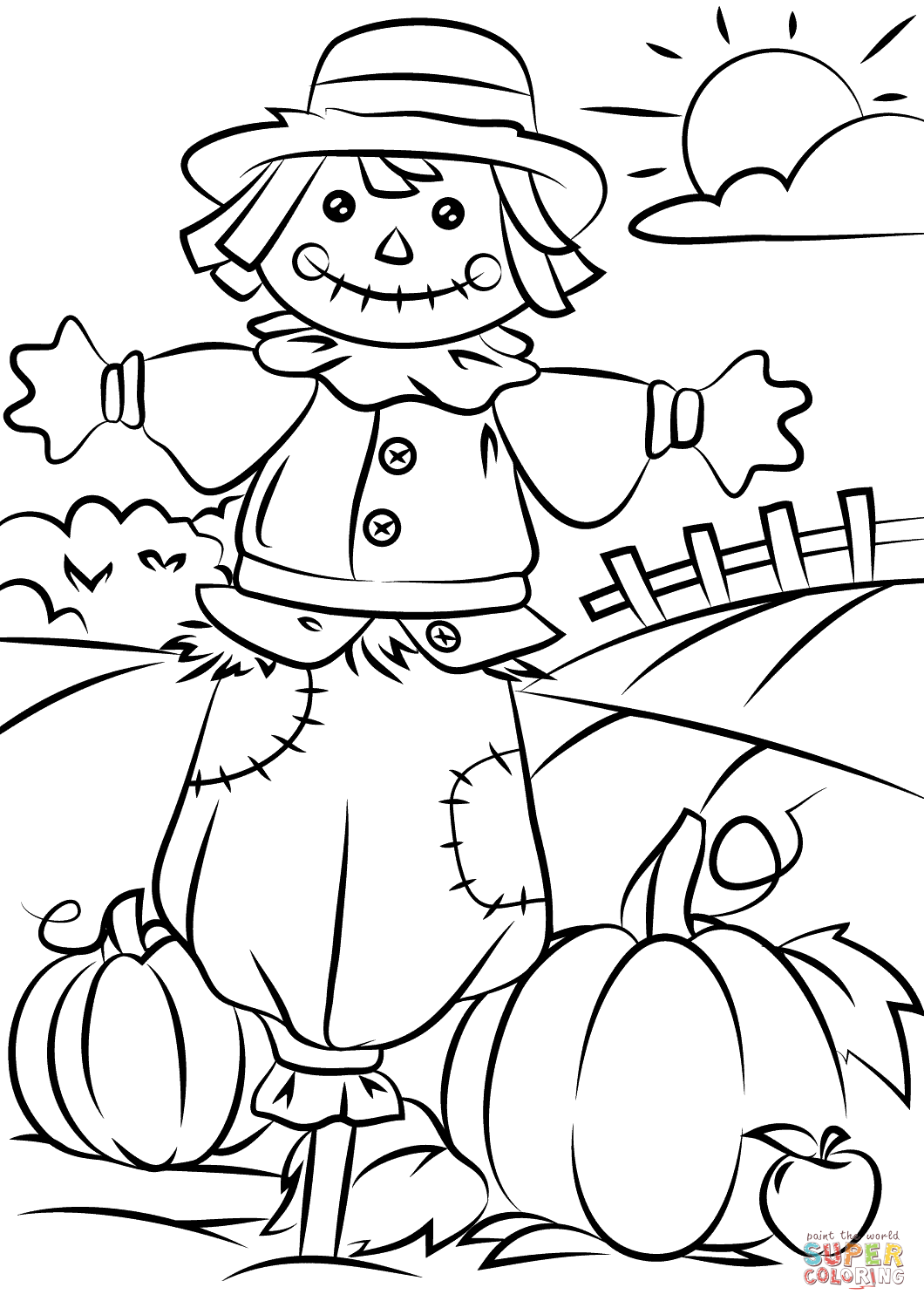 1060x1500 Autumn Scene With Scarecrow Coloring Page Free Printable