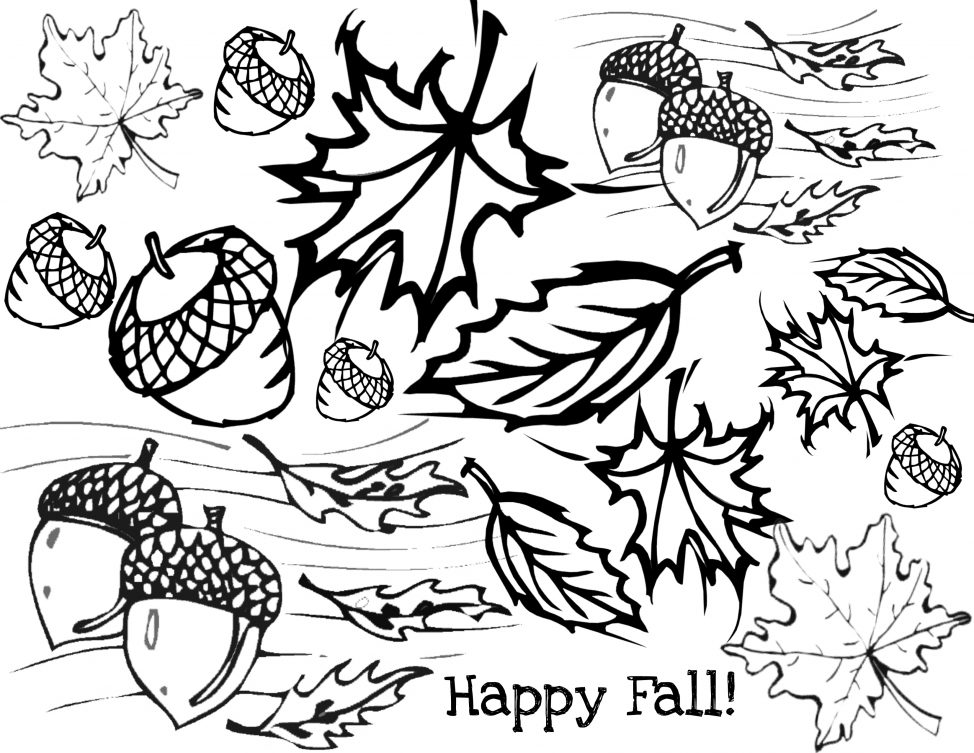 974x753 Coloring Pages Amusing Autumn Coloring Pages Scene Page Autumn