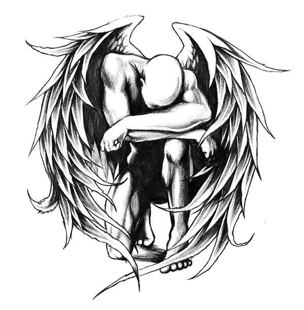 599x610 Fallen Angel Tattoo Design Grey Tattoo, Tattoo Designs And Tattoo