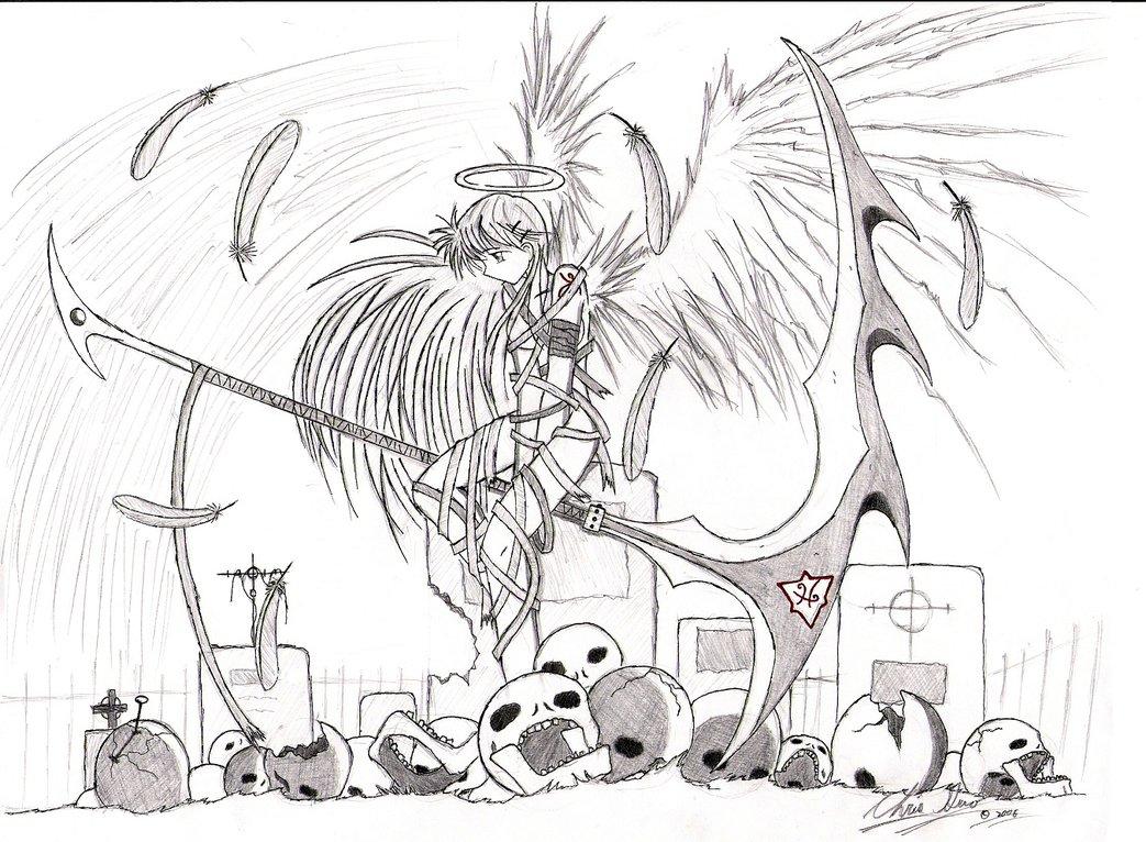 Fallen angel anime boy with black wings