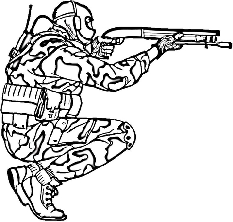 480x456 Soldier In Camouflage Coloring Page Free Printable Coloring Pages