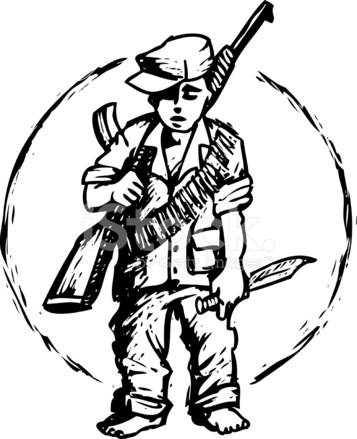 357x439 Child Soldier Stock Vector