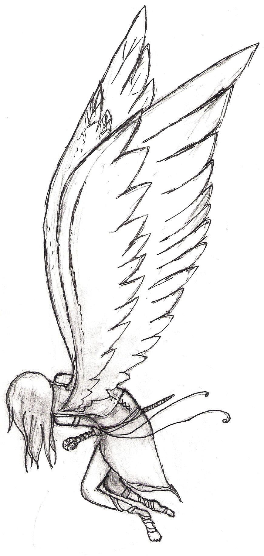 870x1830 Falling Angel In Pen By Haleygottardo