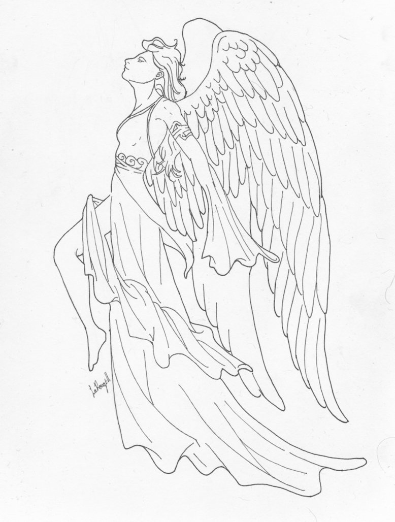 778x1028 Angel Lineart By Rika Dono Lineart Angels Angel