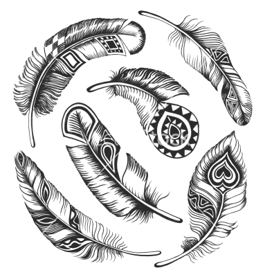 380x400 Black Feather Circle Ornament Vector 1565563