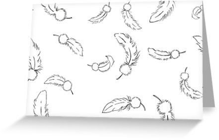 441x283 Falling Feathers White Greeting Cards By Adrienneorpheus Redbubble