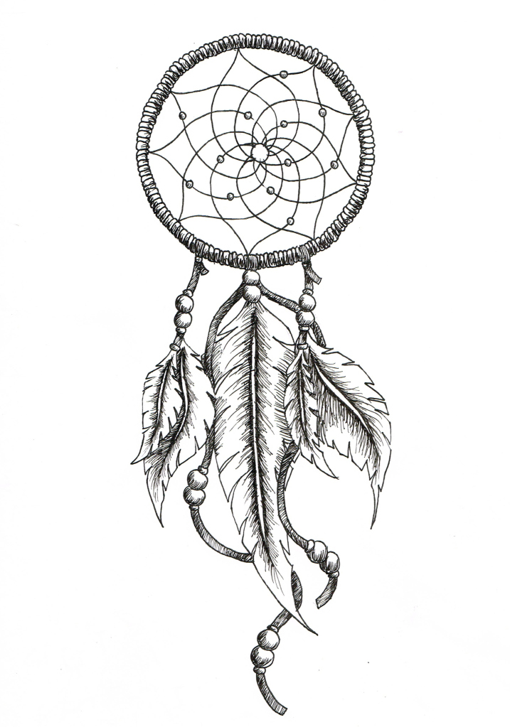 717x1023 Dreamcatcher Tattoos With Birds Drawings