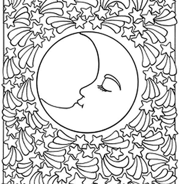 585x600 Moon Coloring Pages For Adults Coloring Page