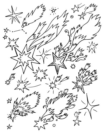 392x507 Shooting Star Coloring Page Free Download