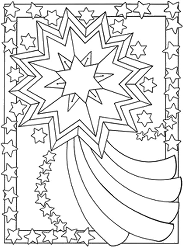 592x800 Adult Coloring Page Moon Sun Stars Falling Star 3
