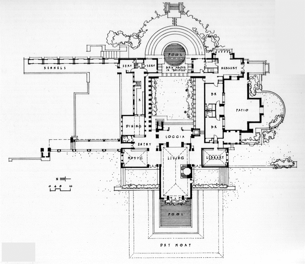 Frank lloyd wright waterfall house floor plans for Zimmerman house floor plan
