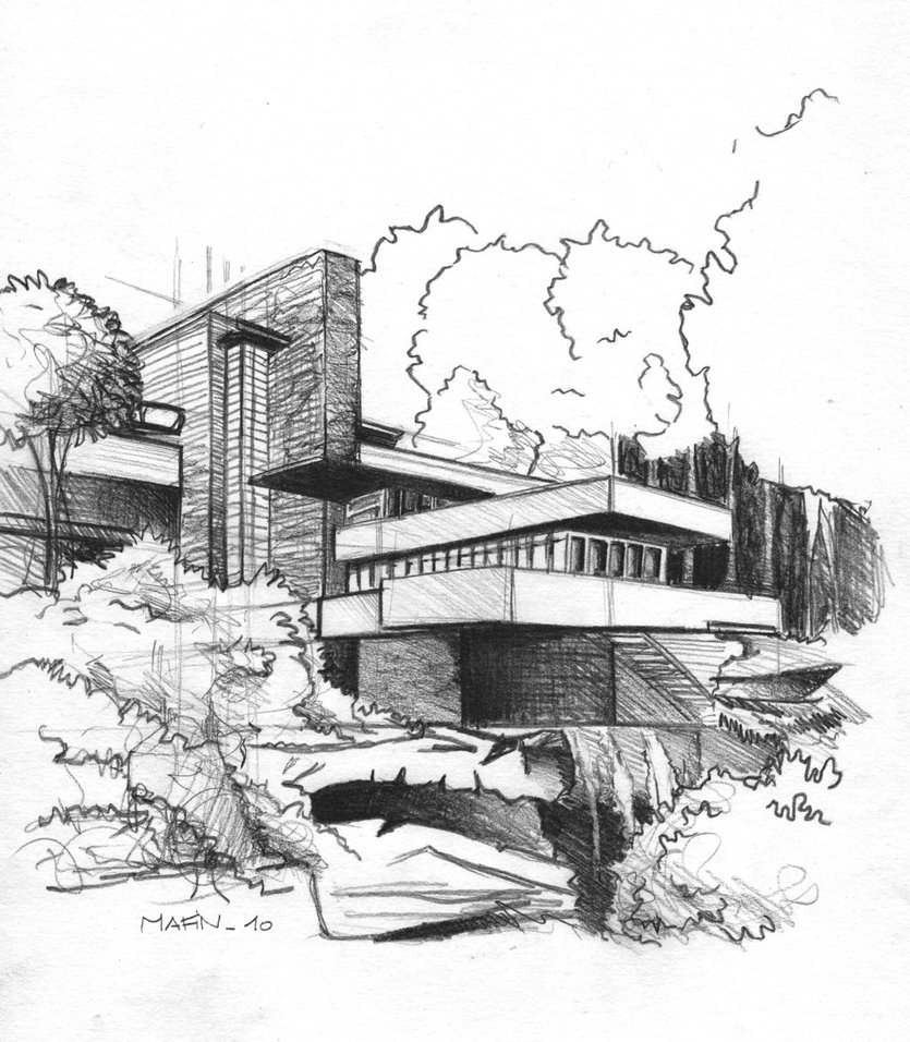 Fallingwater House Coloring Page - Ultra Coloring Pages | 956x835