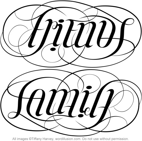 500x495 Friends Amp Family Ambigram V.1 Tattoo, Tatto And Family Tattoo