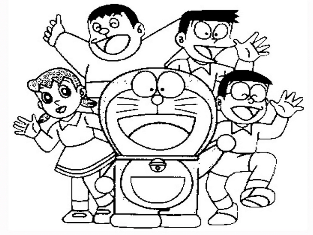 1024x768 How To Draw A Doraemon Family Picture How To Draw Doraemon