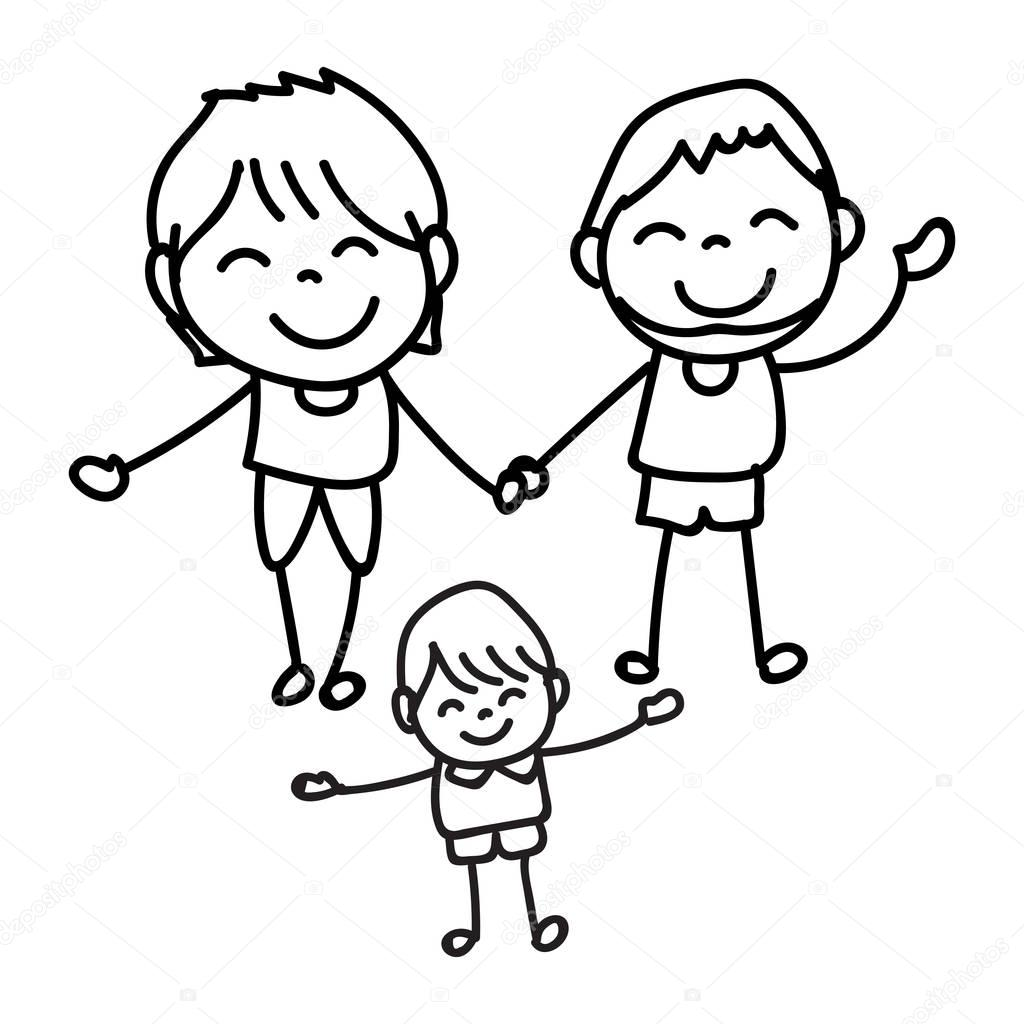 1024x1024 Hand Drawing Happy People Happy Family Vector Illustration Stock
