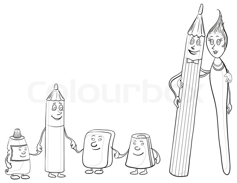 800x618 Cartoon, Contours, Stationery Family Pencils, Brush, Tube, Eraser