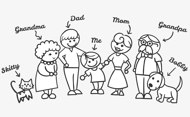 650x400 My Family, Family Photo, Cartoon Hand Drawing, Pet Dog, The Dog