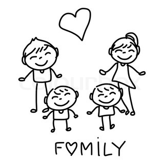 320x320 Cartoon Of Happy Young Family In Casual Clothes With Two Children