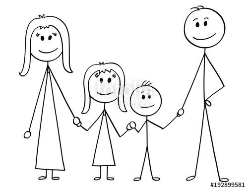 500x383 Cartoon Stick Man Drawing Illustration Of Happy Family Of Father