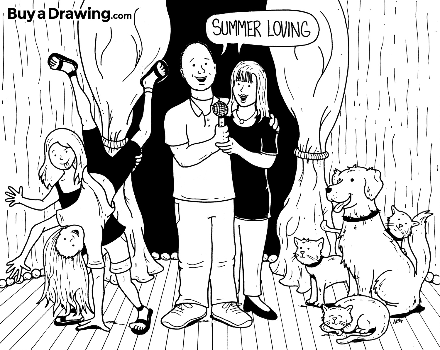 1500x1195 Drawing Of Cartoon Family With Kids Amp Pets Singing Together