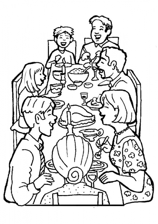 531x750 Family Dinner Coloring Pages