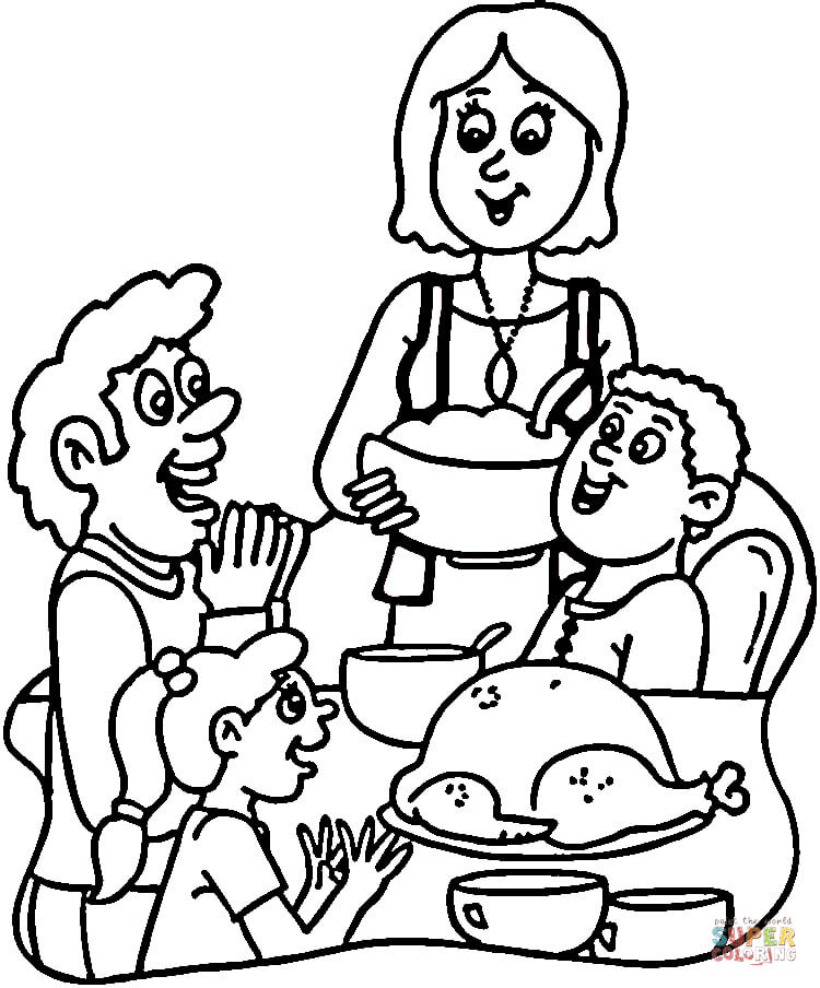 750x904 Family Dinner Coloring Page Free Printable Coloring Pages