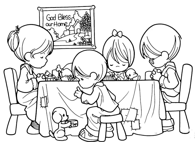 800x582 Family Praying Precious Moments Free Coloring Pages Family