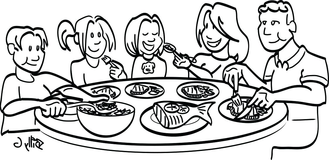 Image result for family eating at table clipart