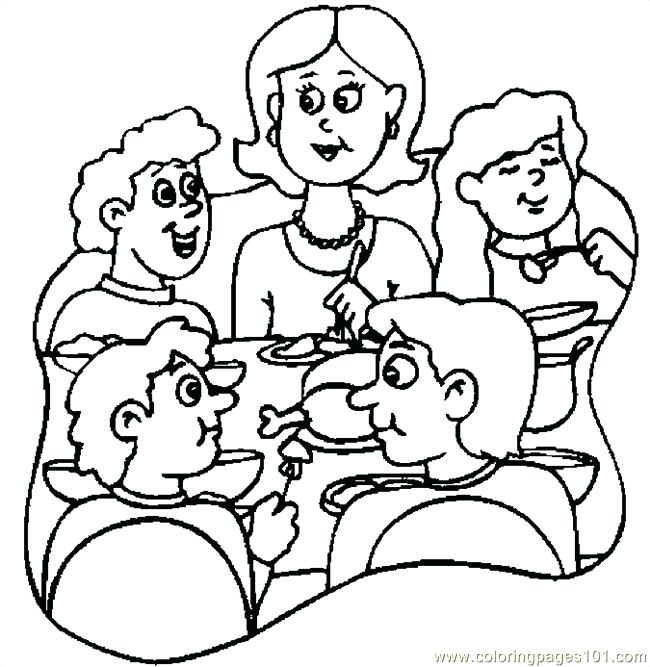 650x667 Thanksgiving Dinner Coloring Pages Thanksgiving Dinner Drawing