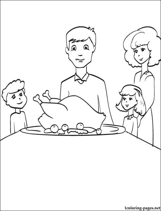 560x736 Thanksgiving Family Dinner Party Theme Coloring Pages