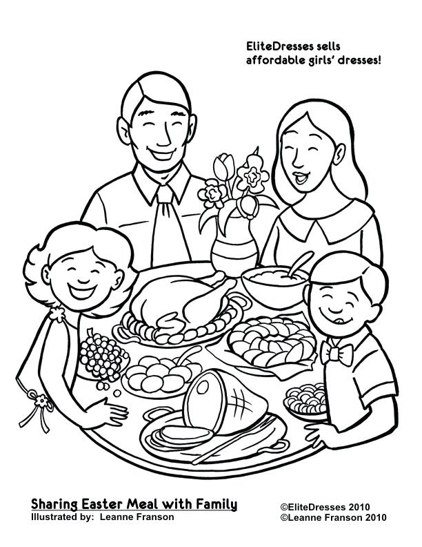 612x792 Dinner Coloring Pages Family Dinner Coloring Pages Genesisar.co