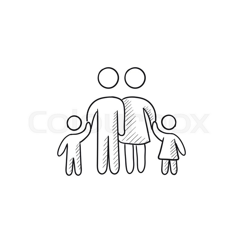 800x800 Family Vector Sketch Icon Isolated On Background. Hand Drawn