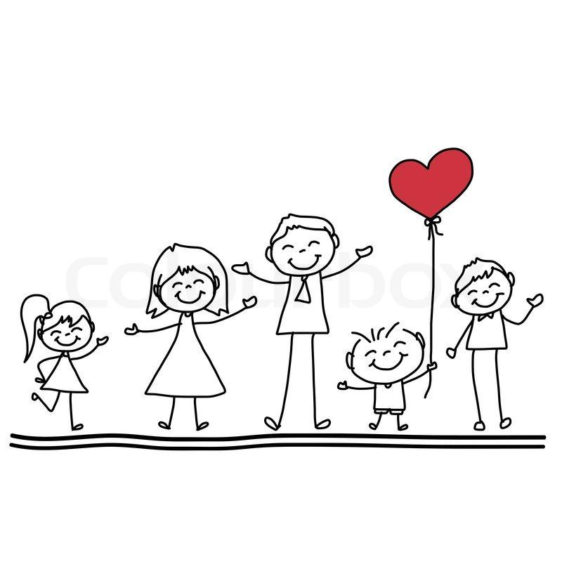 800x800 Hand Drawing Cartoon Character Happy Family Stock Vector Colourbox