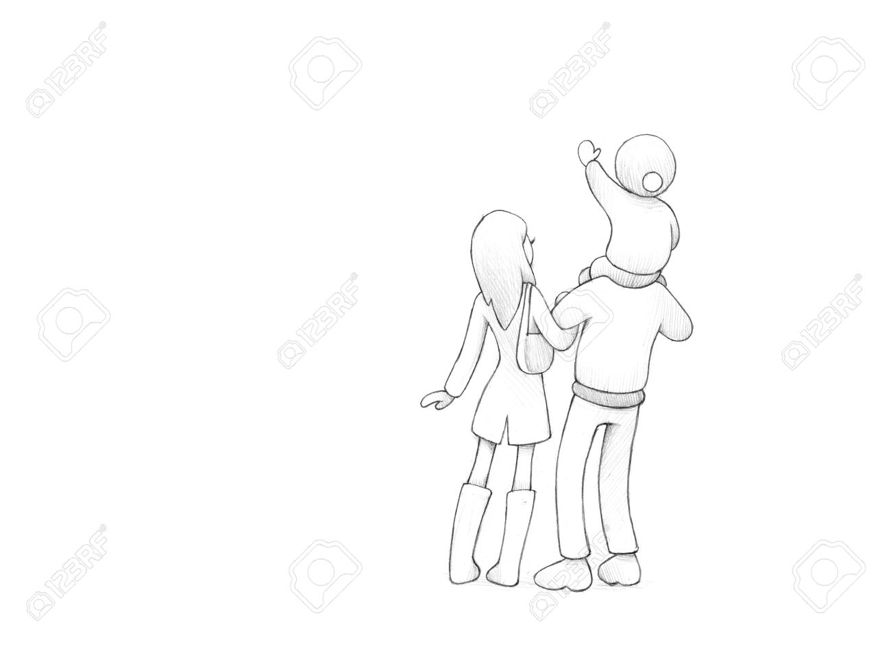 1300x953 Pencil Drawing Of Happy Family Celebrating New Year's Eve Together