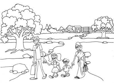 400x291 Family Walk Line Drawing Cartoon Artist Sundar Gallery