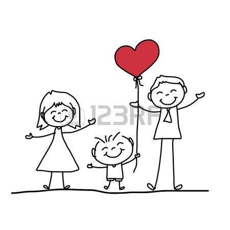 450x450 Hand Drawing Cartoon Character Happy Family Royalty Free Cliparts