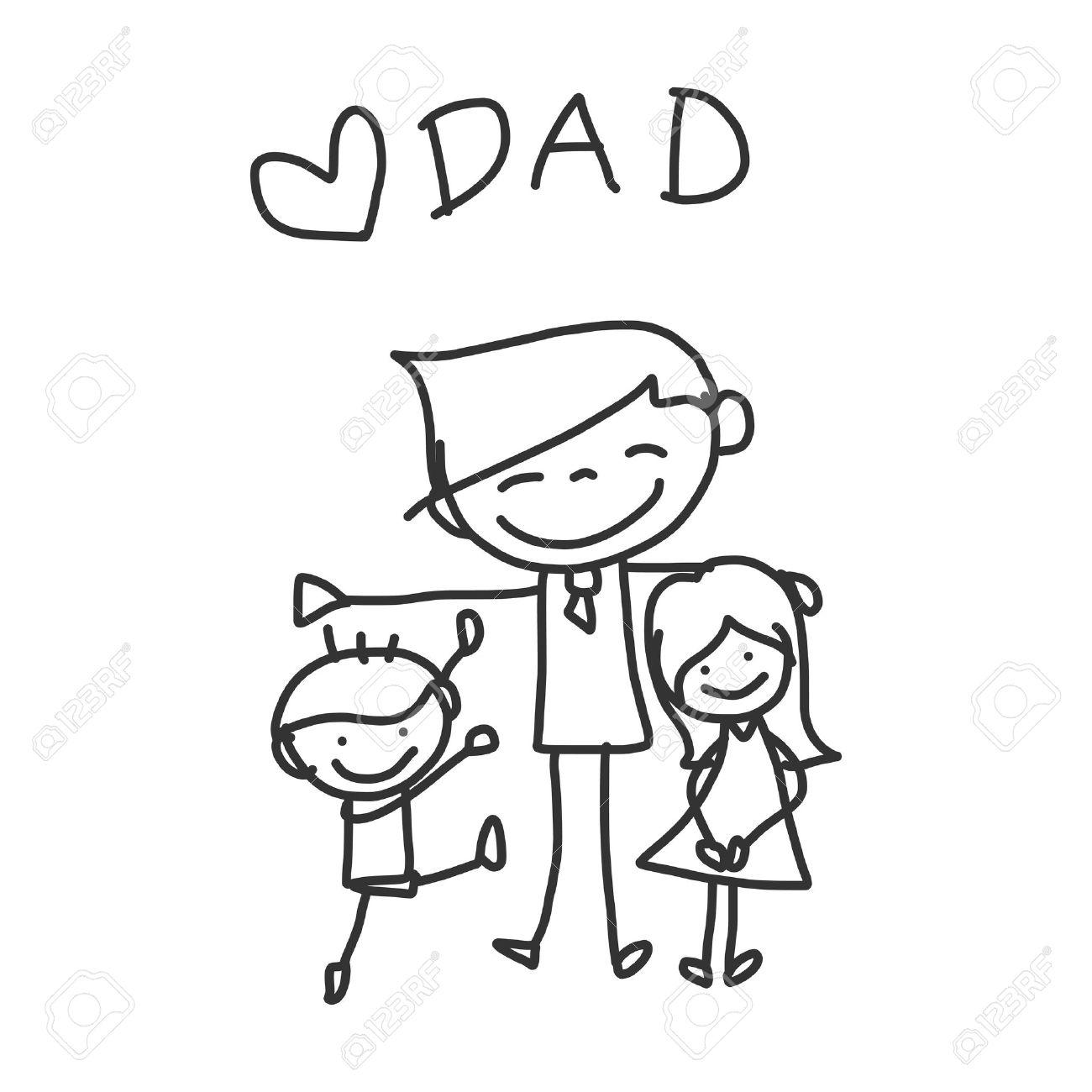 1300x1300 Hand Drawing Cartoon Happy Family Royalty Free Cliparts, Vectors