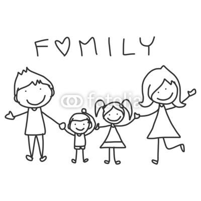 400x400 Hand Drawing Cartoon Happy Family Wall Mural Yoga Wallpaper Murals