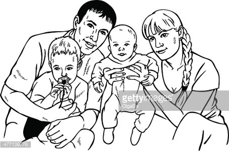 455x300 Happy Family Drawing Premium Clipart