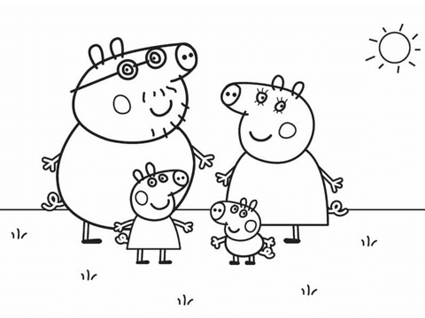 480x360 Peppa Pig's Family Coloring Page Free Printable Coloring Pages
