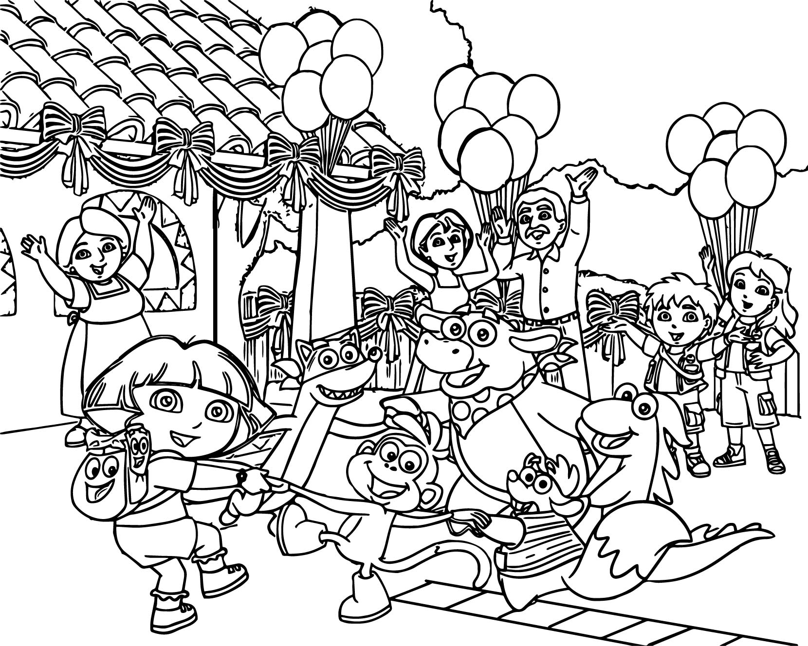 1660x1328 The Dora The Explorer Party Cartoon Family Coloring Page