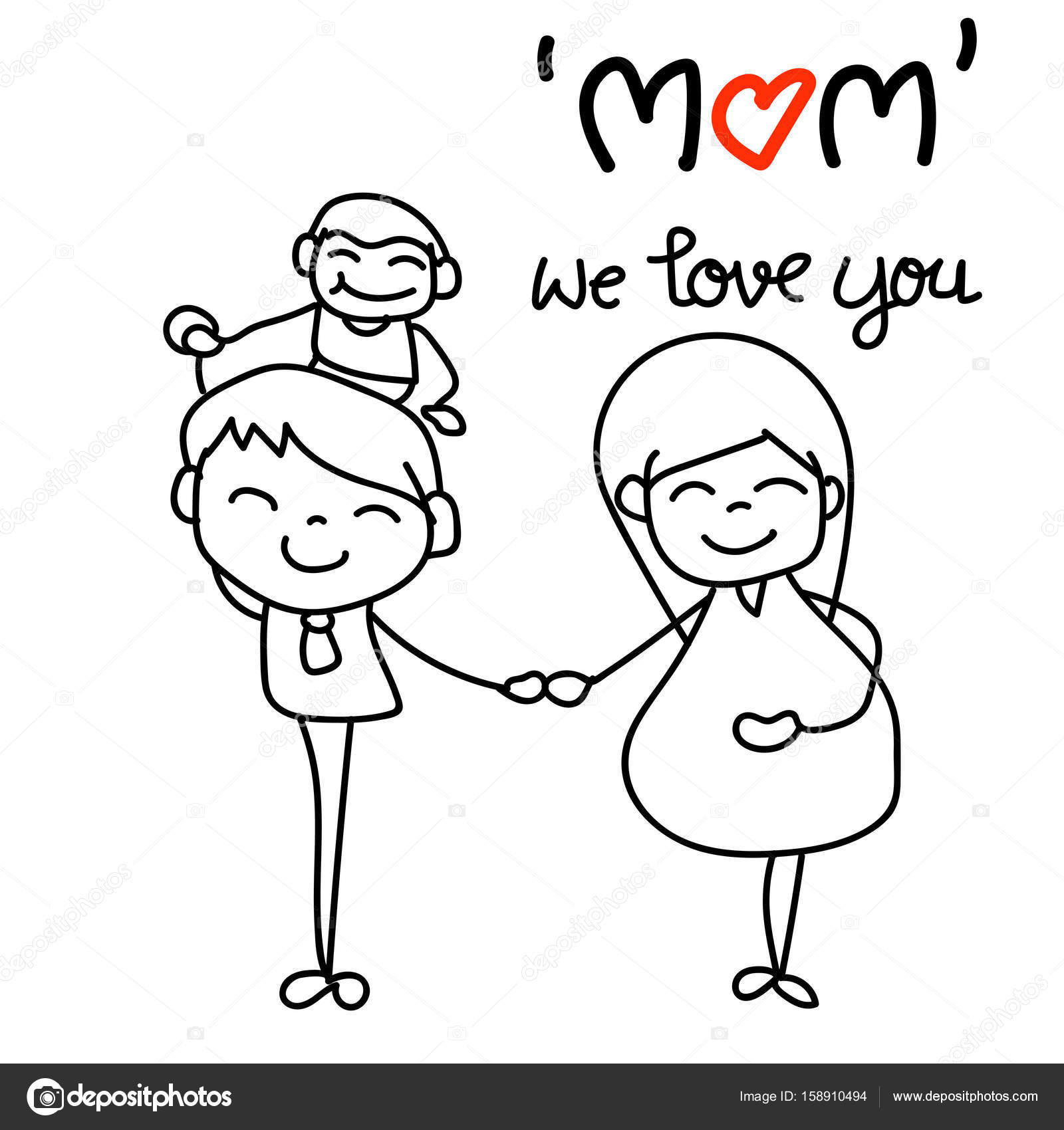 1600x1700 Hand Drawing Cartoon Character Concept Happy Mothers Day Stock