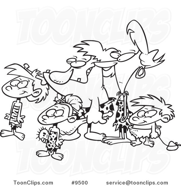 581x600 Cartoon Black And White Line Drawing Of A Caveman Family