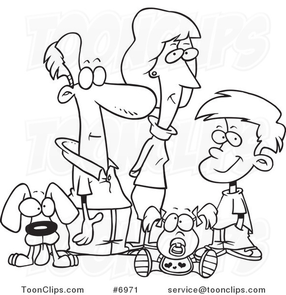 581x600 Cartoon Black And White Line Drawing Of A Pleasant Family