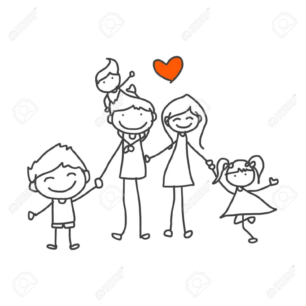 1024x1024 Cartoon Family Drawing Hand Drawing Cartoon Happy Family Playing