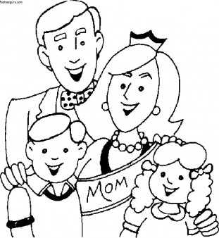 311x338 Printable Mothers Day With Happy Family Coloring Page
