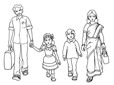 400x299 Family Walk Realistic Line Drawing Artist Sundar Gallery