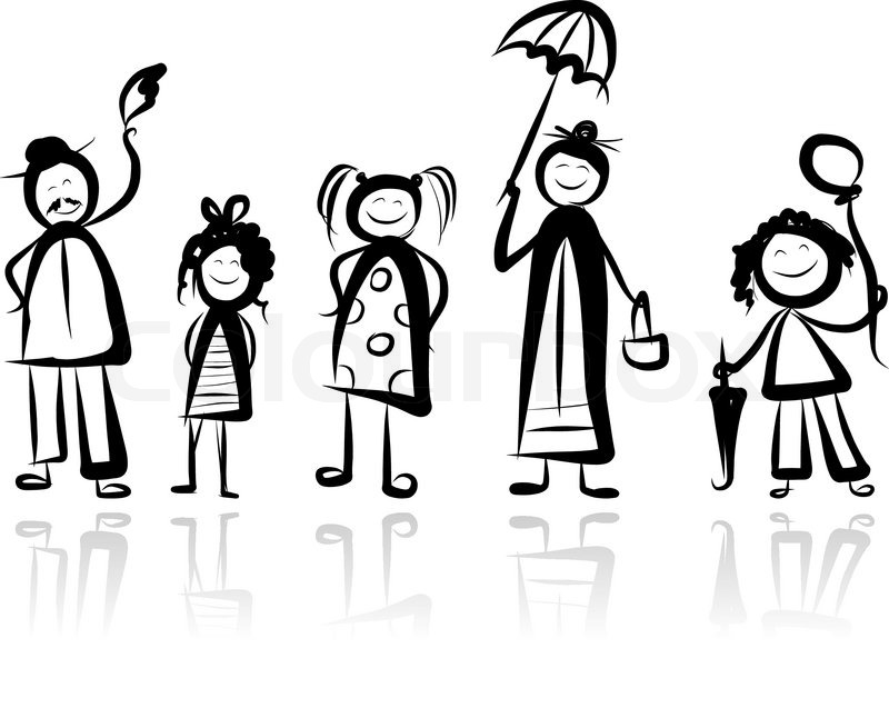 800x646 Happy Big Family Smiling Together, Drawing Sketch Stock Vector